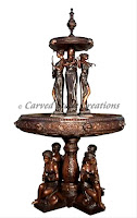 Bronze Fountain, 8 Women Musicians Two-Tier with 4 Woman Sitting