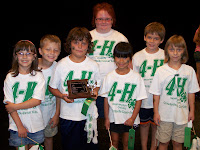 The Crawfordsville Clover Kids showed up as the 4-H Spirit Squad who shared the 4-H Pledge and gave some 4-H cheers.  The judge awarded them with the Judge's Choice trophy.  Photo Courtesy of The Washington County Extension.