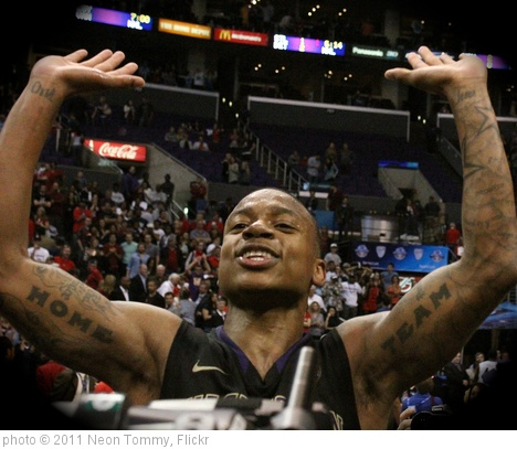 'Isaiah Thomas celebrates game-winning shot.' photo (c) 2011, Neon Tommy - license: http://creativecommons.org/licenses/by-sa/2.0/