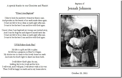baptism program cover