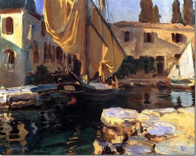 Sargent-John-Singer-San-Vigilio-A-Boat-with-Golden-Sail