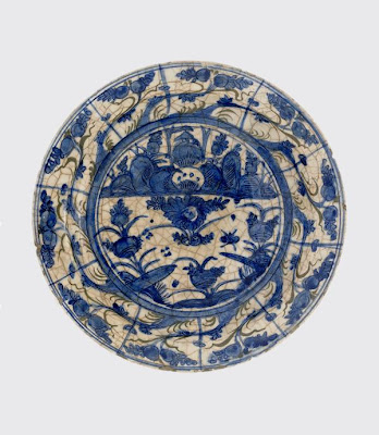 Plate | Origin:  Iran | Period: 17th century  Safavid period | Details:  Not Available | Type: Stone-paste painted under glaze | Size: W: 14.5  cm | Museum Code: S1997.61 | Photograph and description taken from Freer and the Sackler (Smithsonian) Museums.
