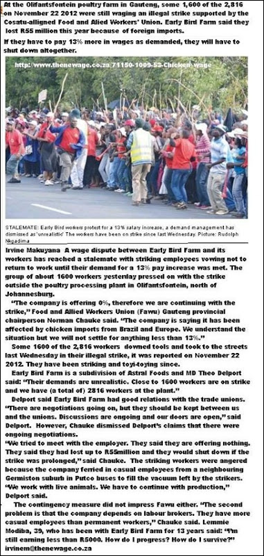 OLIFANTSFONTEIN CHICKEN FARM STRIKE NOV 22 2012