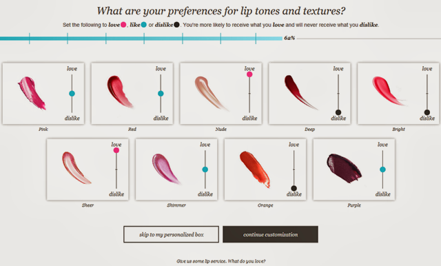 Wantable preferences Lip Tones and Texture
