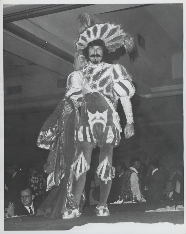 Matthew of Glendale, pseudonym of Matthew Schmidt, in costume on stage. 1971.