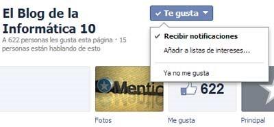 Notificaciones de páginas de Facebook - recibir notificaciones activada