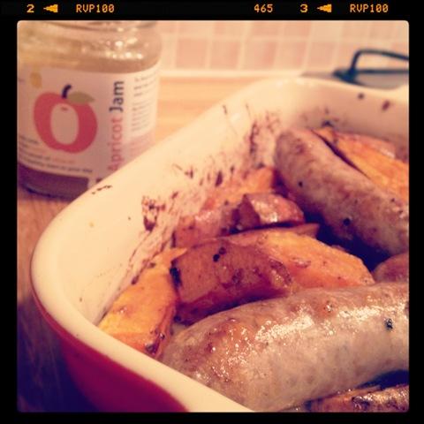 #289 - sticky roasted sausage and sweet potato