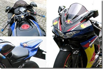 Modified Kawasaki Ninja 250R Red Bull fairing
