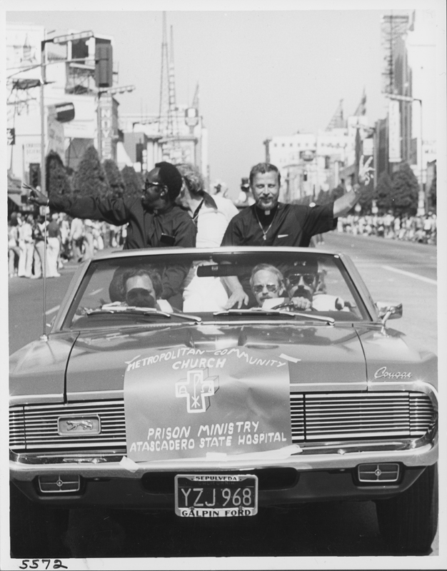 The Metropolitan Community Church (MCC) Atascadero State Hospital Prison Ministry take part in the Los Angeles Christopher Street West (CSW) pride parade. 1975.