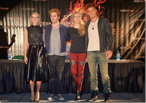 Stephanie Leigh Schlund in Frankie B. Denim at The Hunger Games Catching Fire Press Tour