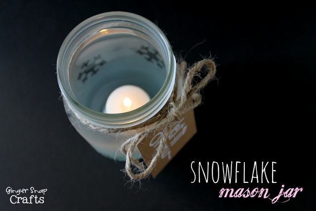 Snowflake Mason Jar at GingerSnapCrafts #spon