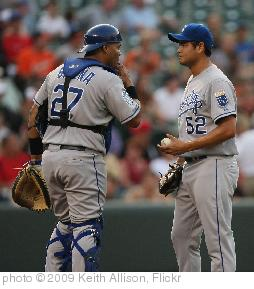 'Brayan Pena and Bruce Chen' photo (c) 2009, Keith Allison - license: http://creativecommons.org/licenses/by-sa/2.0/