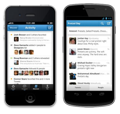 Twitter para android e iphone