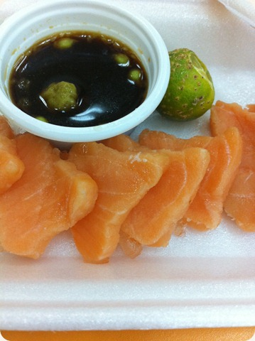 Salmon sashimi. Eating something different.