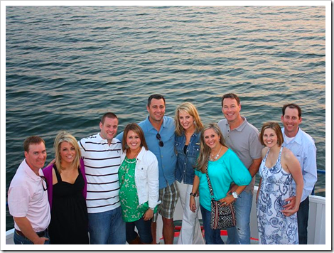 Group shot from above on boat