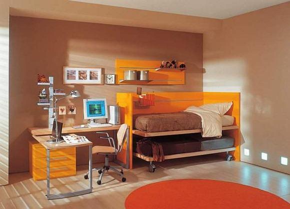 Habitaciones adolescentes en naranja y blanco