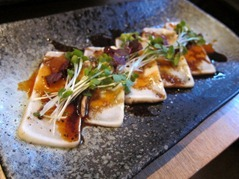 Butter Fish Tataki: seared butterfish, shiso cress, daikon cress, spicy sauce, balsamic dressing