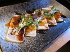 Butter Fish Tataki: seared butterfish, shiso cress, daikon cress, spicy sauce, balsamic dressing