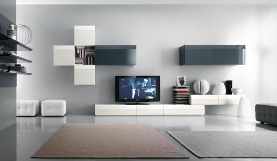 Mueble de TV blanco y negro