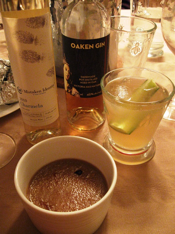 Creme Brulee with Cucumber Gin Spritzer