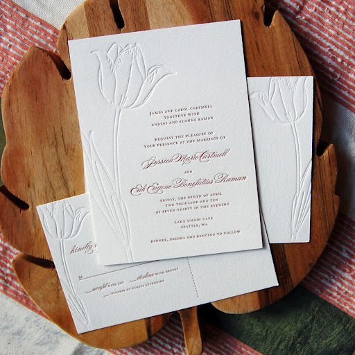 BDRstudio found inspiration for this wedding invitation in the couple's love of red tulips.