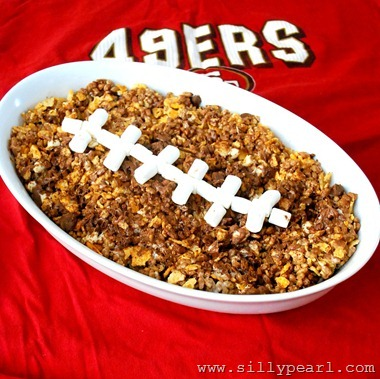 Football Rice Krispy Treats with BBQ Chips and Chocolate - The Silly Pearl