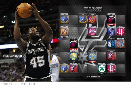 '2011 Spurs Schedule - March (DeJuan Blair)' photo (c) 2011, Mike - license: http://creativecommons.org/licenses/by-sa/2.0/