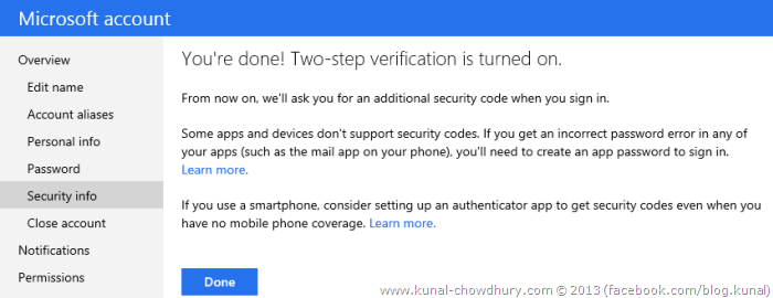 6. Microsoft two step authentication successfully integrated