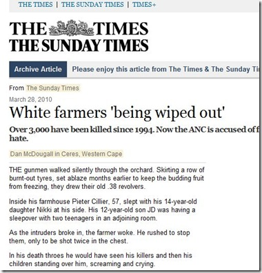 White farmers 'being wiped out'