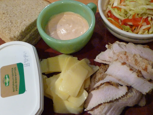 Sandwich ingredients assembled.