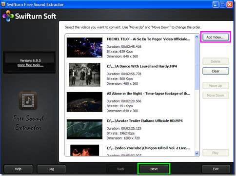 Swifturn Free Sound Extractor aggiungere video da convertire in audio