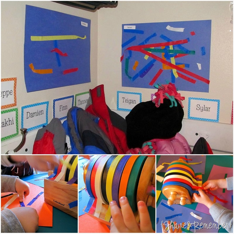 masking tape collages in preschool 2