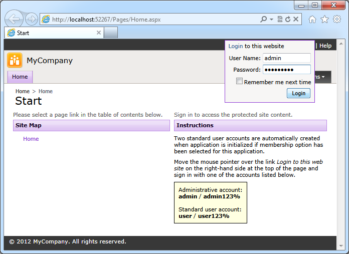A fly-over login dialog of a web app with custom membership and role providers created with Code On Time application generator