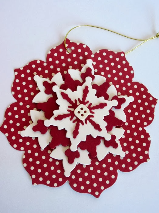 red and white snowflake ornament 1