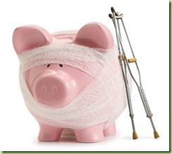 Troubled-Finances-Buget-broken-piggy-bank-on-sick-leave