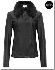 Reiss Sheepskin Collar Leather Jacket