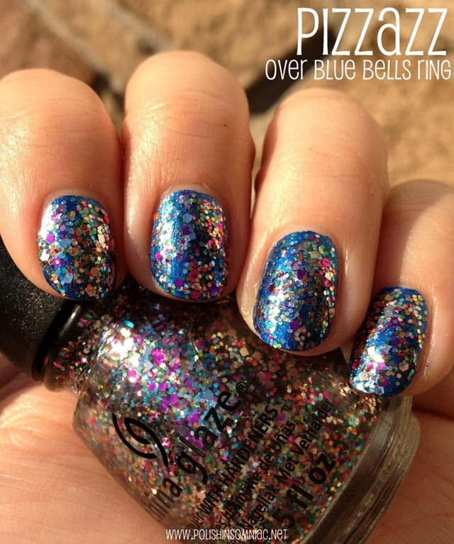 China Glaze Pizzazz over China Glaze Blue Bells Ring