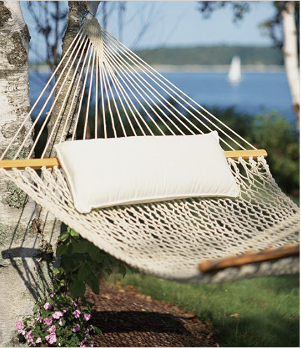 After a day of playing games, who wouldn't want to relax in a classic cotton hammock.