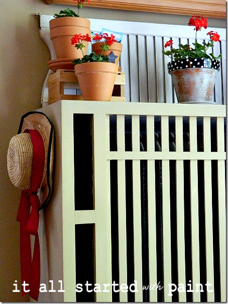 potting_bench_summer_mantel_hat_geraniums_polka_dot_pot