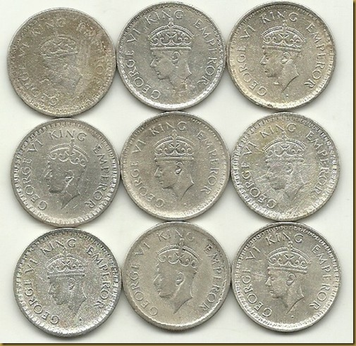 A Set of 9 Half Silver Coins