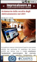 Screenshot of Lavoro, impresa ed economia