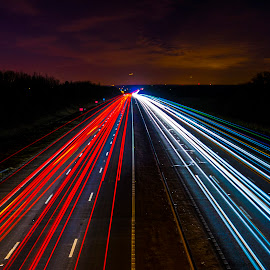 Long Exposure Of M3 Motorway by Darren Darkhaunter - Abstract Light Painting ( england, light painting, motorway, m3, long exposure, hampshire )