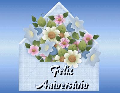 carta aberta com flores e mensagem de feliz aniver