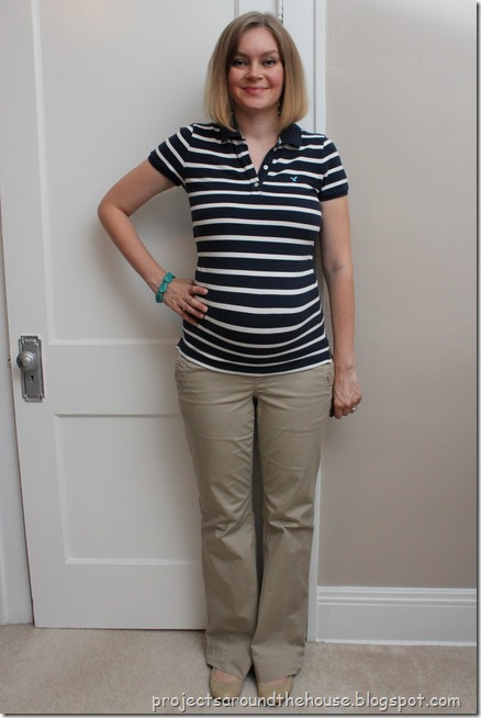 blue and white striped shirt, khakis