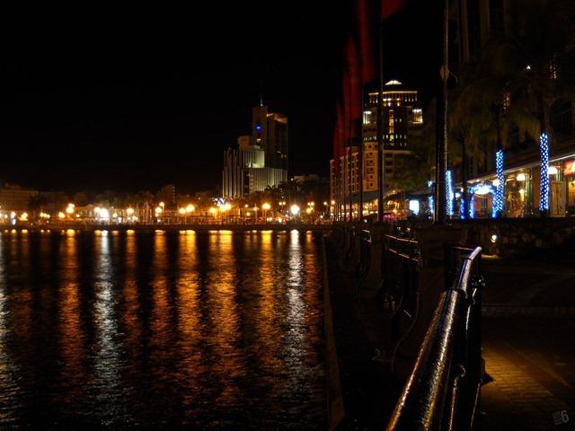 Caudan Waterfront at night.