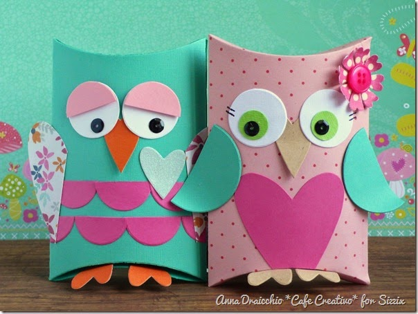 cafe creativo - big shot sizzix - owl pillow box - gufi scatolina (1)