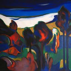 Augusto Barcia (chileno)-Composición en paisaje-1998-1.20 x 1.50 m
