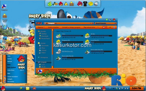 Angry Birds Skin Pack buat Windows 7