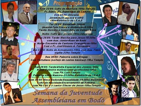 Cartaz  Semana da Juventude Assembleiana em Bodó