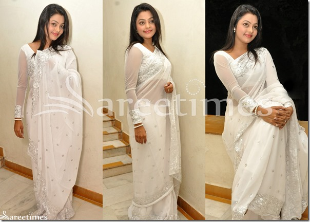 Kajal_Yadav_White_Embroidery_Saree